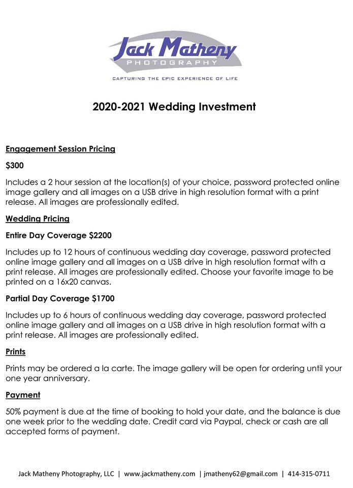 Microsoft Word - 2020-2021 Weddings_Jack Matheny Photography
